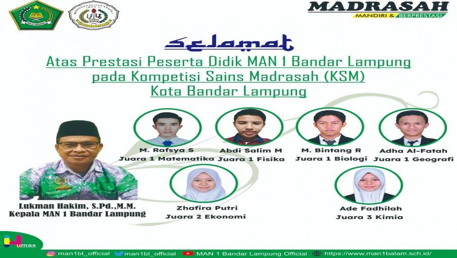 MAN 1 Bandar Lampung Raih Juara Umum KSM Kota Bandar Lampung Tahun 2021